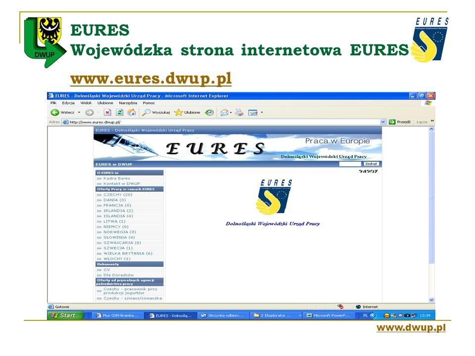 EURES Wojewódzka strona internetowa EURES www.eures.dwup.pl www.eures.dwup.pl www.dwup.pl