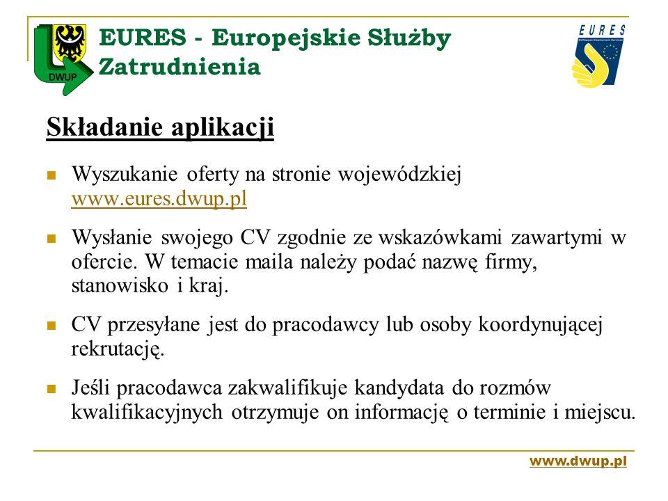EURES - Europejskie Służby Zatrudnienia Składanie aplikacji Wyszukanie oferty na stronie wojewódzkiej www.eures.dwup.pl www.eures.dwup.pl Wysłanie swo