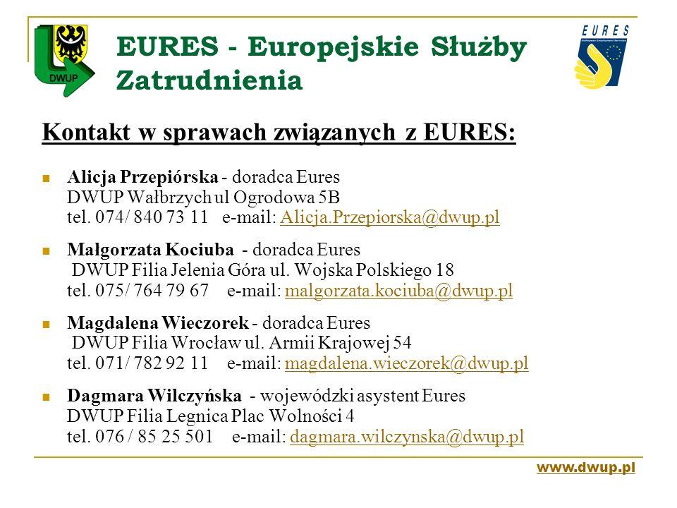 EURES - Europejskie Służby Zatrudnienia Kontakt w sprawach związanych z EURES: Alicja Przepiórska - doradca Eures DWUP Wałbrzych ul Ogrodowa 5B tel. 0