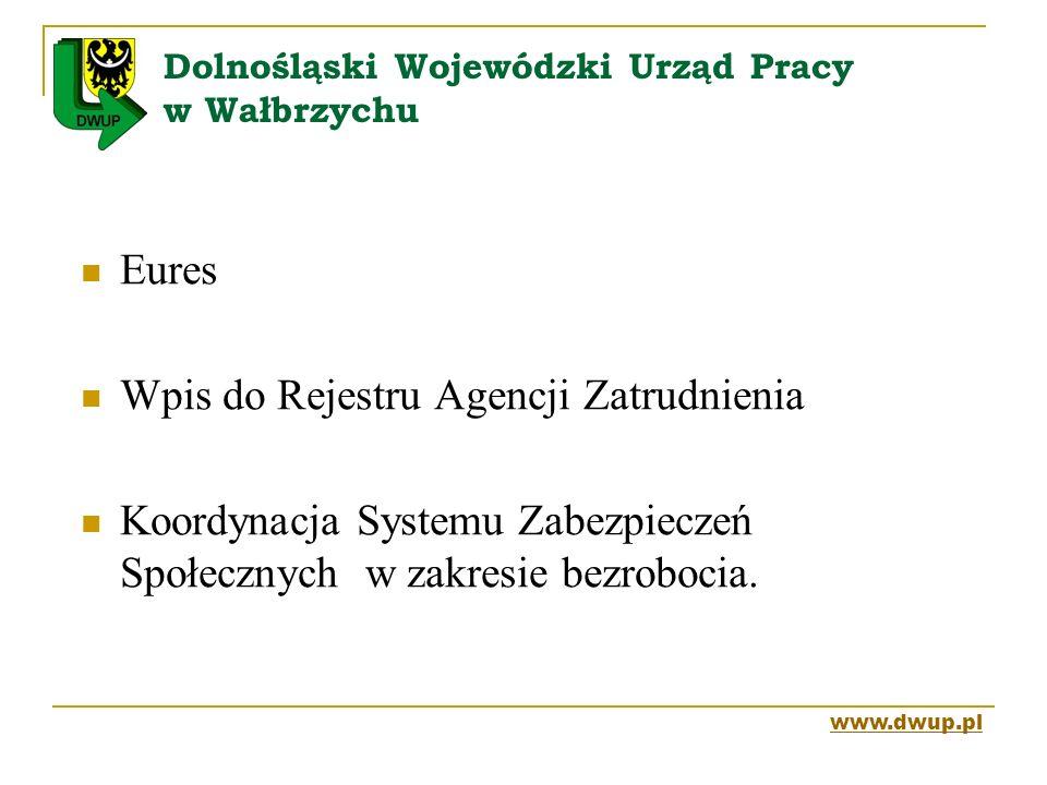 Dolnośląski Wojewódzki Urząd Pracy w Wałbrzychu Eures Wpis do Rejestru Agencji Zatrudnienia Koordynacja Systemu Zabezpieczeń Społecznych w zakresie be