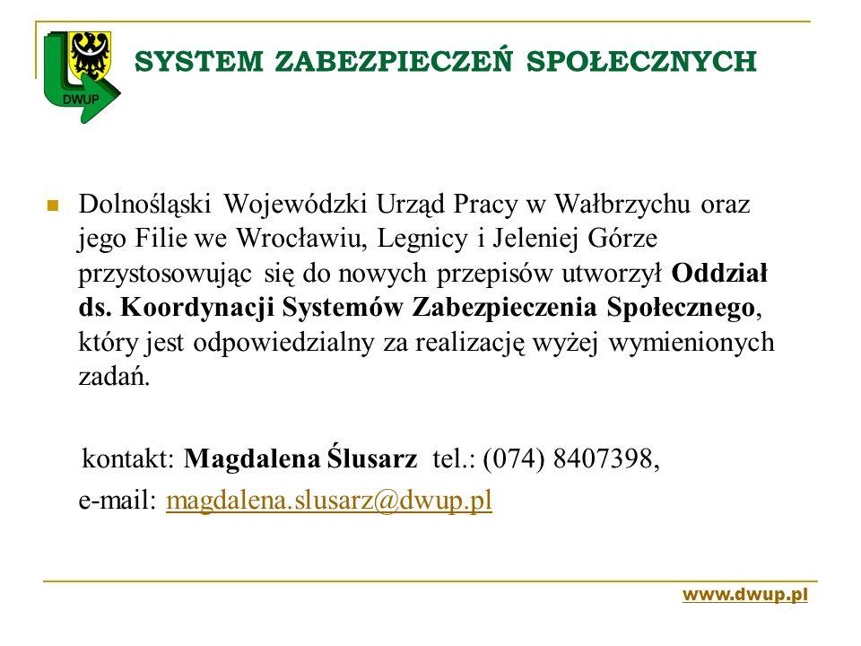 SYSTEM ZABEZPIECZEŃ SPOŁECZNYCH Dolnośląski Wojewódzki Urząd Pracy w Wałbrzychu oraz jego Filie we Wrocławiu, Legnicy i Jeleniej Górze przystosowując