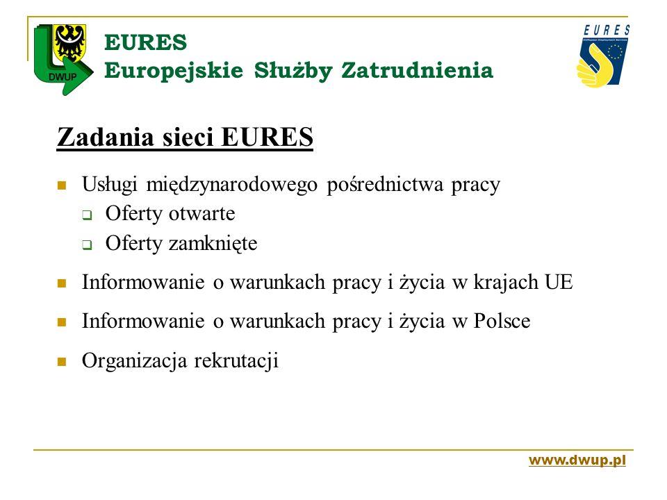 EURES Europejskie Służby Zatrudnienia Zadania sieci EURES Usługi międzynarodowego pośrednictwa pracy Oferty otwarte Oferty zamknięte Informowanie o wa