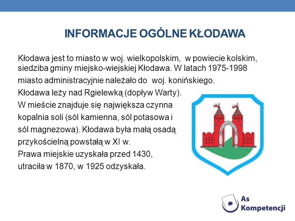 INFORMACJE OGÓLNE KŁODAWA Kłodawa jest to miasto w woj. wielkopolskim, w powiecie kolskim, siedziba gminy miejsko-wiejskiej Kłodawa. W latach 1975-199