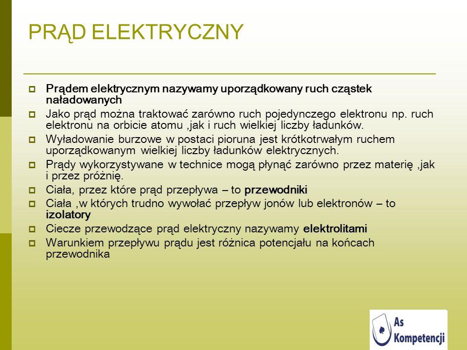 PRĄD ELEKTRYCZNY Prądem elektrycznym nazywamy uporządkowany ruch cząstek naładowanych Jako prąd można traktować zarówno ruch pojedynczego elektronu np