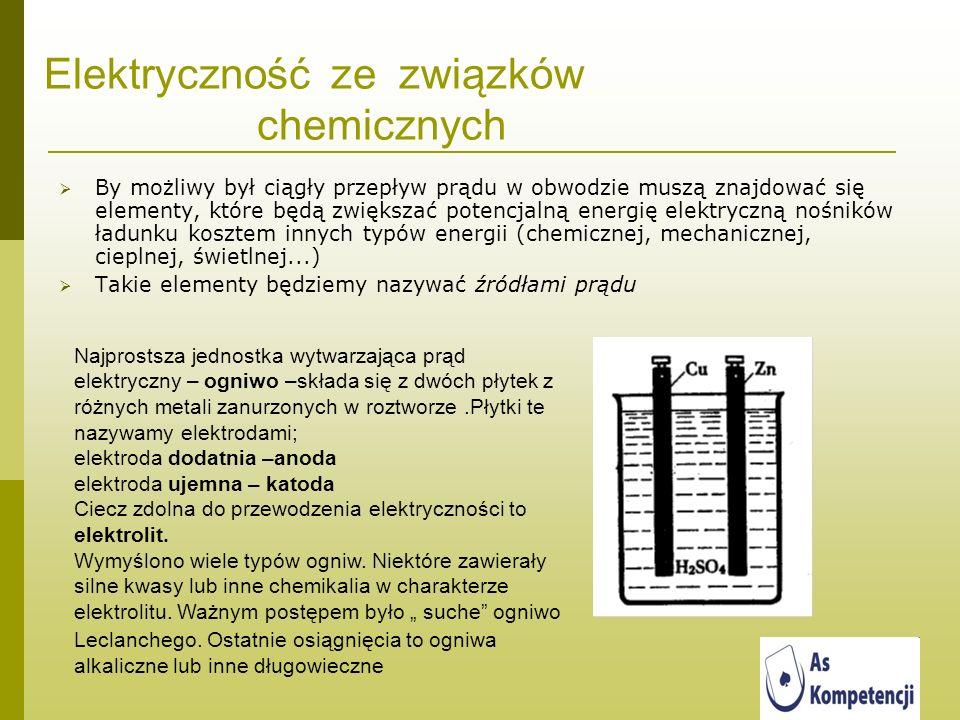 Elektryczność ze związków chemicznych By możliwy był ciągły przepływ prądu w obwodzie muszą znajdować się elementy, które będą zwiększać potencjalną e