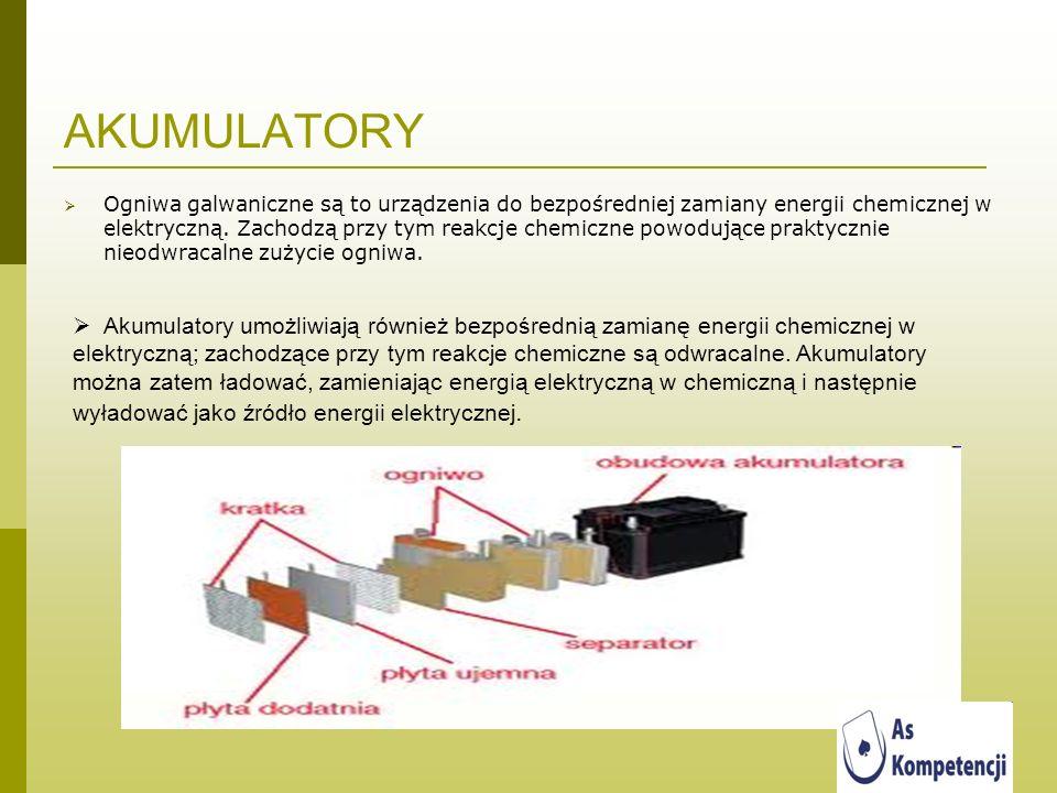 AKUMULATORY Ogniwa galwaniczne są to urządzenia do bezpośredniej zamiany energii chemicznej w elektryczną. Zachodzą przy tym reakcje chemiczne powoduj