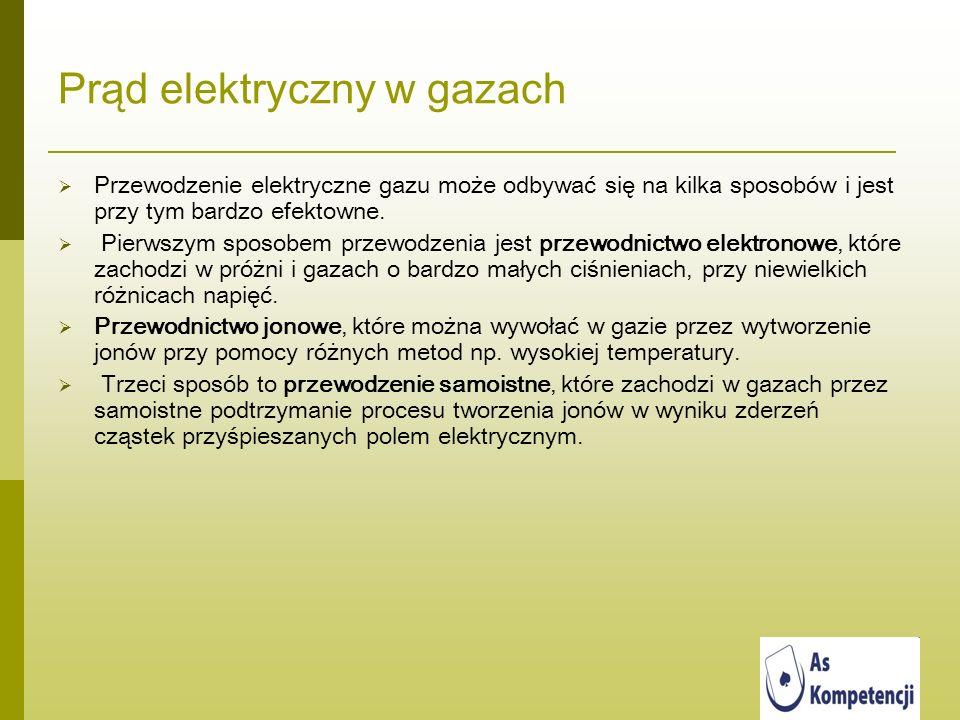 Prąd elektryczny w gazach Przewodzenie elektryczne gazu może odbywać się na kilka sposobów i jest przy tym bardzo efektowne. Pierwszym sposobem przewo