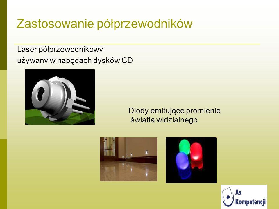 Zastosowanie półprzewodników Laser półprzewodnikowy używany w napędach dysków CD Diody emitujące promienie światła widzialnego