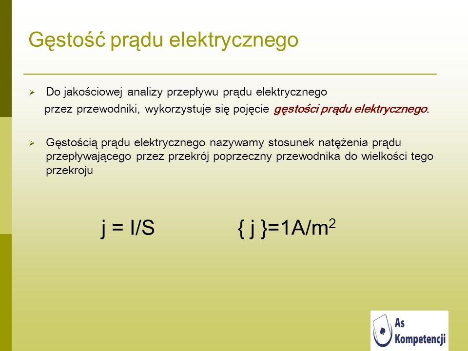 Gęstość prądu elektrycznego Do jakościowej analizy przepływu prądu elektrycznego przez przewodniki, wykorzystuje się pojęcie gęstości prądu elektryczn