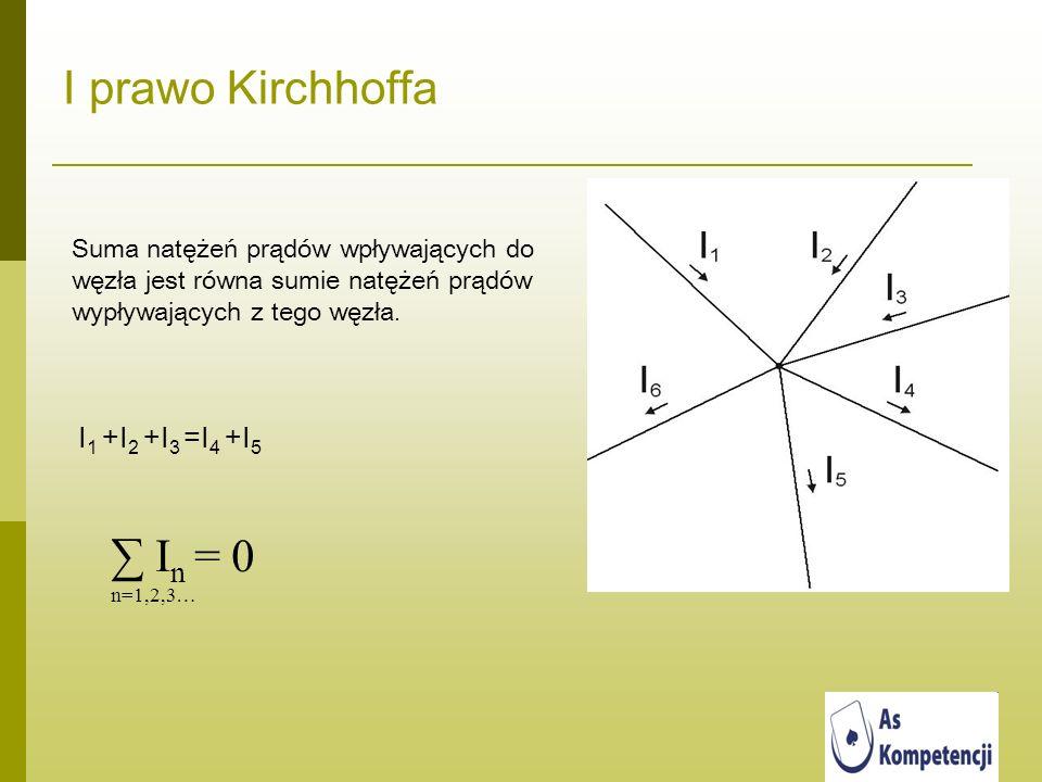 I prawo Kirchhoffa Suma natężeń prądów wpływających do węzła jest równa sumie natężeń prądów wypływających z tego węzła. I 1 +I 2 +I 3 =I 4 +I 5 I n =