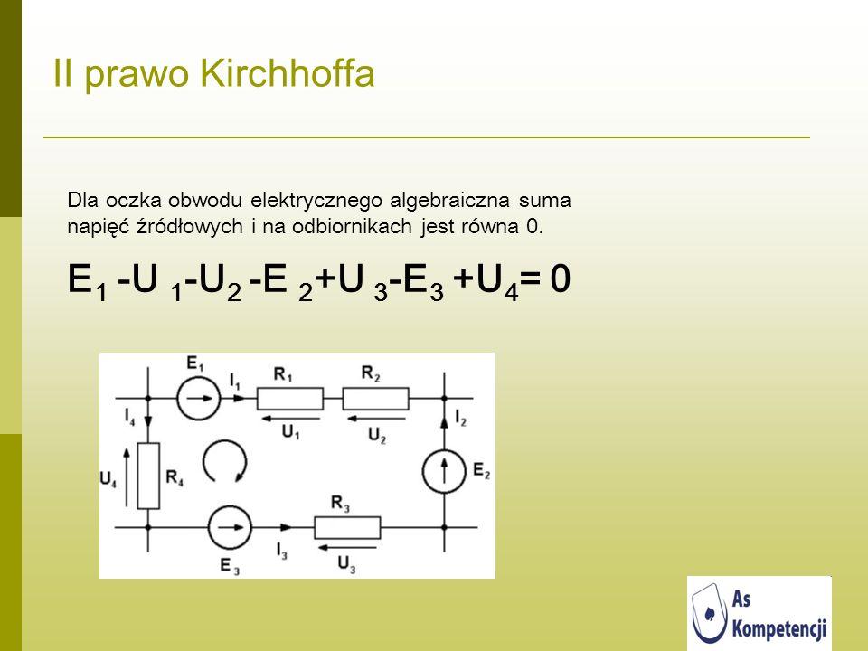 II prawo Kirchhoffa Dla oczka obwodu elektrycznego algebraiczna suma napięć źródłowych i na odbiornikach jest równa 0. E 1 -U 1 -U 2 -E 2 +U 3 -E 3 +U