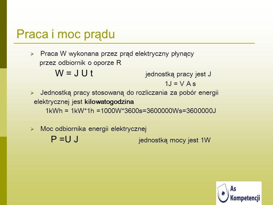 Praca i moc prądu Praca W wykonana przez prąd elektryczny płynący przez odbiornik o oporze R W = J U t jednostką pracy jest J 1J = V A s Jednostką pra