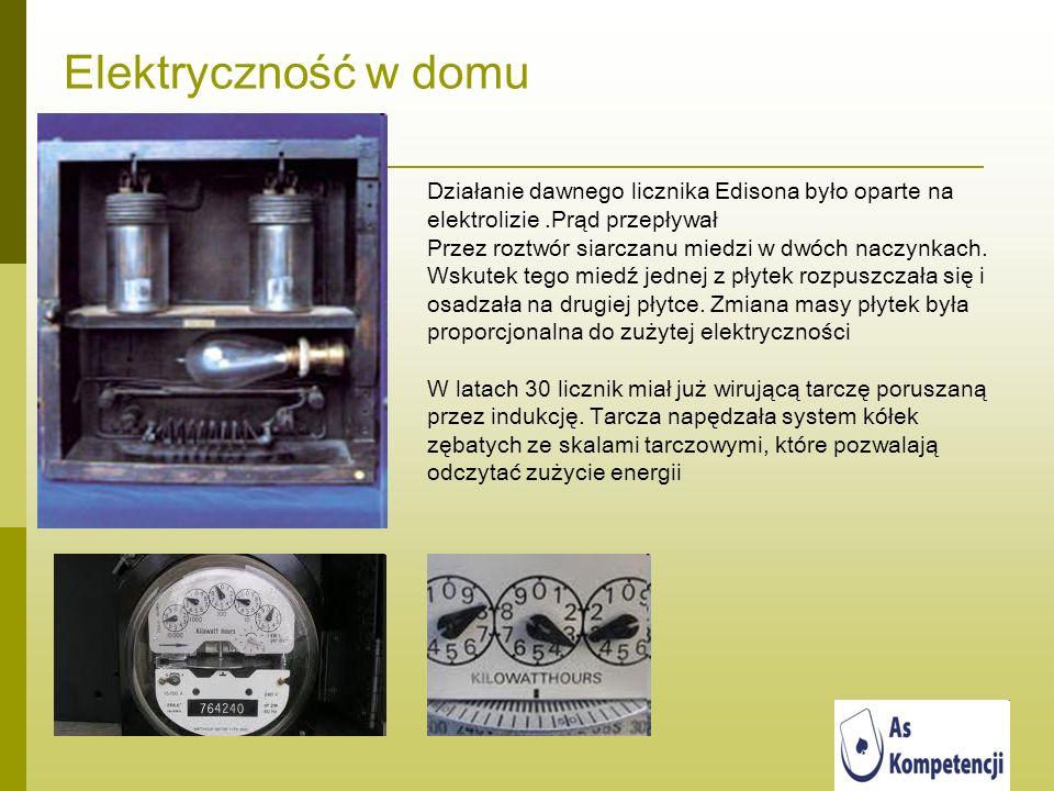 Elektryczność w domu Działanie dawnego licznika Edisona było oparte na elektrolizie.Prąd przepływał Przez roztwór siarczanu miedzi w dwóch naczynkach.