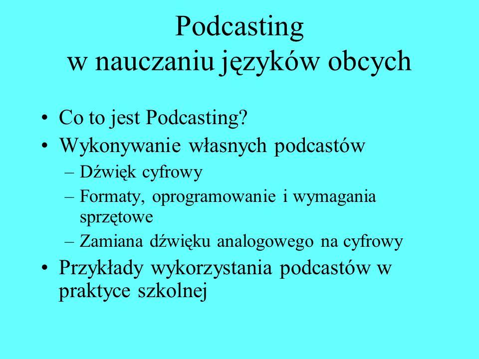 Podcasting Forma cyfrowej publikacji dźwiękowej lub filmowej.