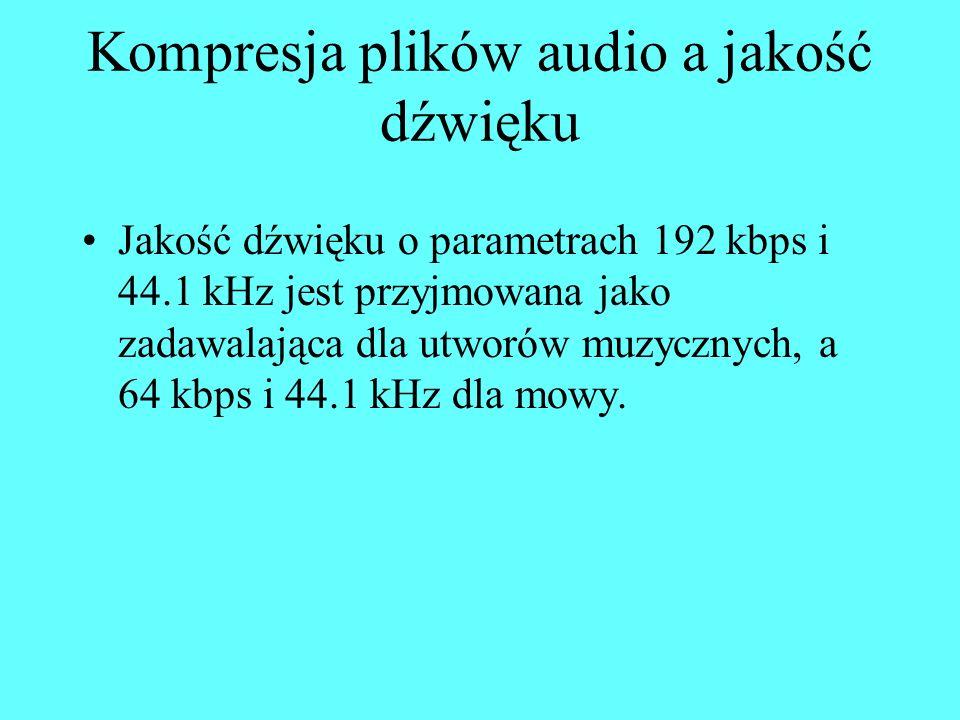 Kompresja plików audio a jakość dźwięku Jakość dźwięku o parametrach 192 kbps i 44.1 kHz jest przyjmowana jako zadawalająca dla utworów muzycznych, a 64 kbps i 44.1 kHz dla mowy.