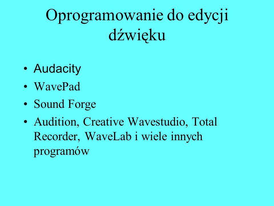Oprogramowanie do edycji dźwięku Audacity WavePad Sound Forge Audition, Creative Wavestudio, Total Recorder, WaveLab i wiele innych programów