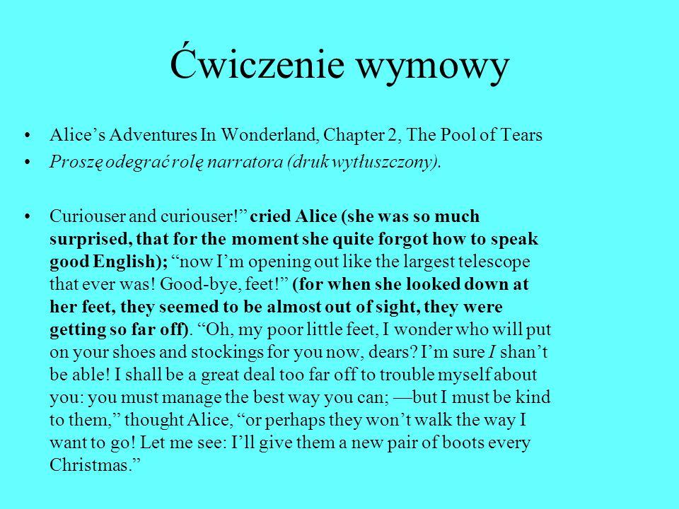 Ćwiczenie wymowy Alices Adventures In Wonderland, Chapter 2, The Pool of Tears Proszę odegrać rolę narratora (druk wytłuszczony).