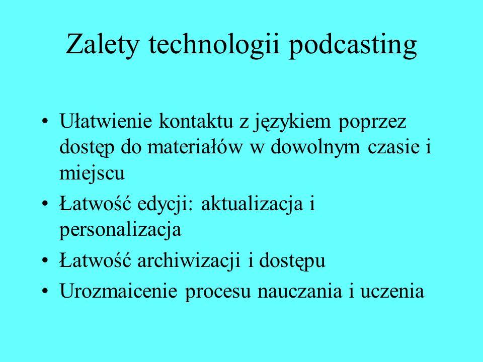 Tworzenie własnych podcastów Nagranie w formie pliku WAV lub MP3 za pomocą mikrofonu i komputera, dyktafonu lub telefonu komórkowego Nagranie za pomocą analogowego magnetofonu i następnie zamiana nagrania na cyfrowe przy użyciu komputera Digitalizacja analogowych materiałów dźwiękowych