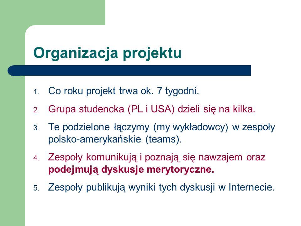 Organizacja projektu 1. Co roku projekt trwa ok. 7 tygodni. 2. Grupa studencka (PL i USA) dzieli się na kilka. 3. Te podzielone łączymy (my wykładowcy