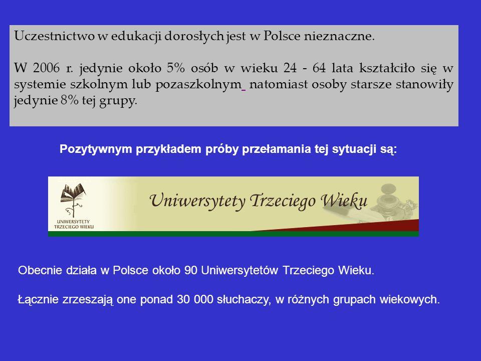 Uczestnictwo w edukacji dorosłych jest w Polsce nieznaczne. W 2006 r. jedynie około 5% osób w wieku 24 - 64 lata kształciło się w systemie szkolnym lu
