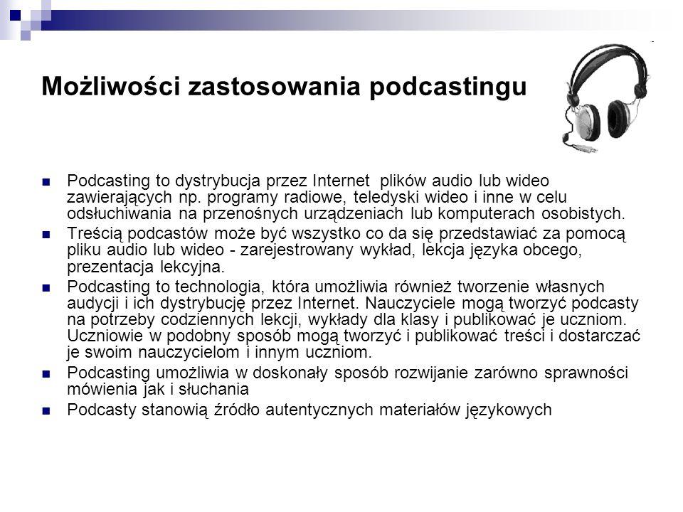 Przykłady edukacyjnych podcastów nowości, wiadomości, ciekawostki muzyka, dźwięki i odgłosy lekcje językowe wykłady, dyskusje audioksiążki audioblogi pokazy i demonstracje wykłady ilustrowane wideoinstrukcje prezentacje tematyczne przykłady działań, postaw przedstawienia wideo blog