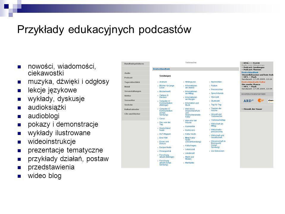 Przykłady edukacyjnych podcastów nowości, wiadomości, ciekawostki muzyka, dźwięki i odgłosy lekcje językowe wykłady, dyskusje audioksiążki audioblogi