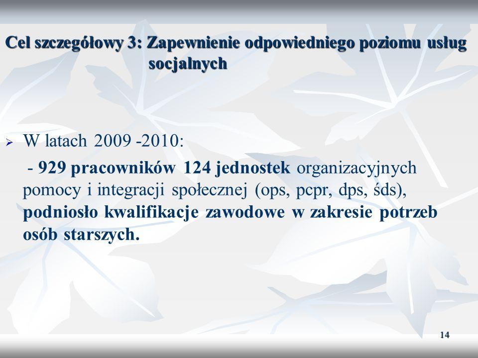 14 Cel szczegółowy 3: Zapewnienie odpowiedniego poziomu usług socjalnych W latach 2009 -2010: - 929 pracowników 124 jednostek organizacyjnych pomocy i