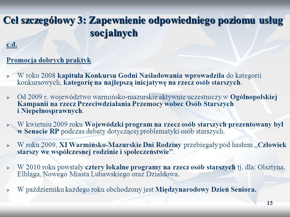 15 Cel szczegółowy 3: Zapewnienie odpowiedniego poziomu usług socjalnych c.d. Promocja dobrych praktyk W roku 2008 kapituła Konkursu Godni Naśladowani