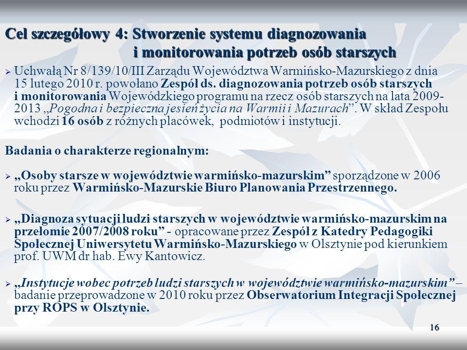 16 Cel szczegółowy 4: Stworzenie systemu diagnozowania i monitorowania potrzeb osób starszych Uchwałą Nr 8/139/10/III Zarządu Województwa Warmińsko-Ma