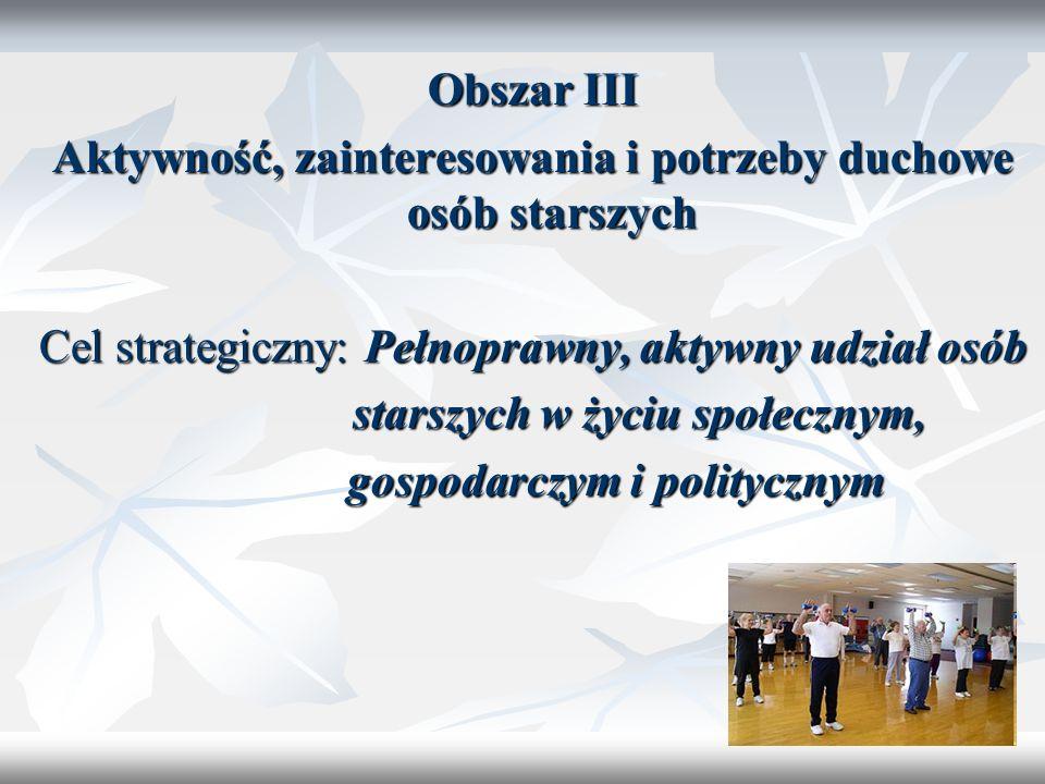 19 Obszar III Aktywność, zainteresowania i potrzeby duchowe osób starszych Cel strategiczny: Pełnoprawny, aktywny udział osób starszych w życiu społec