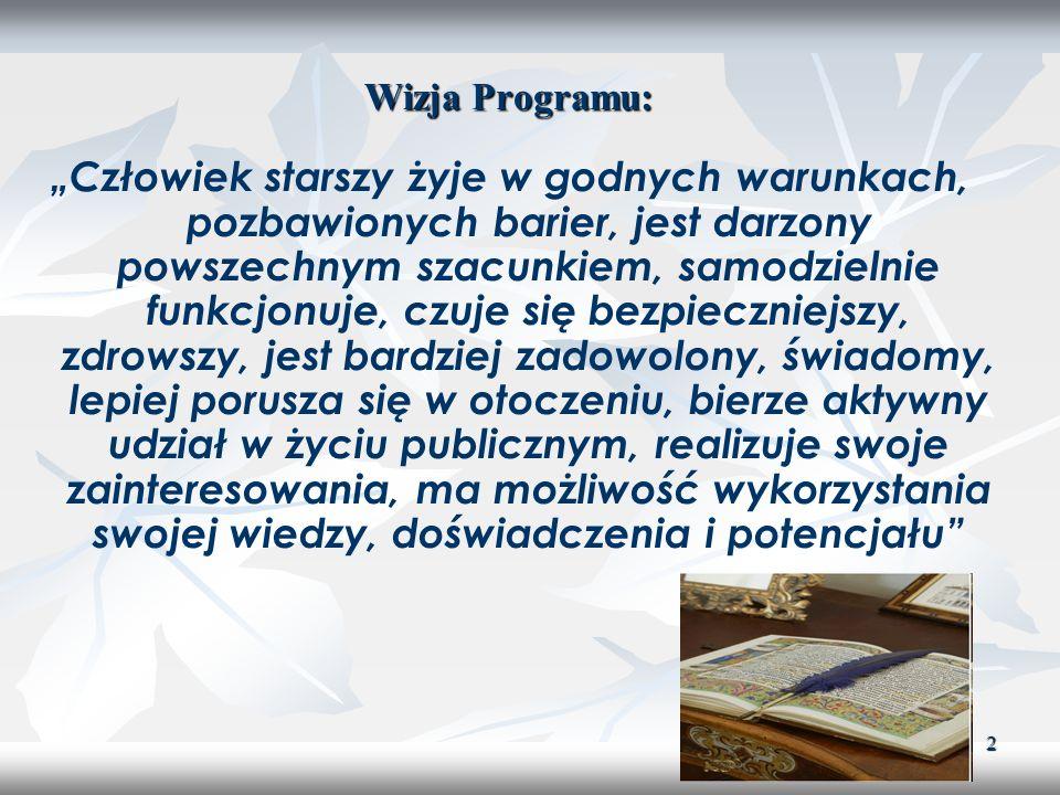 3 Misja Programu: Poprawa jakości życia i funkcjonowania osób starszych oraz kształtowanie pozytywnego obrazu w świadomości społecznej, współpraca międzypokoleniowa i rzecznictwo interesów