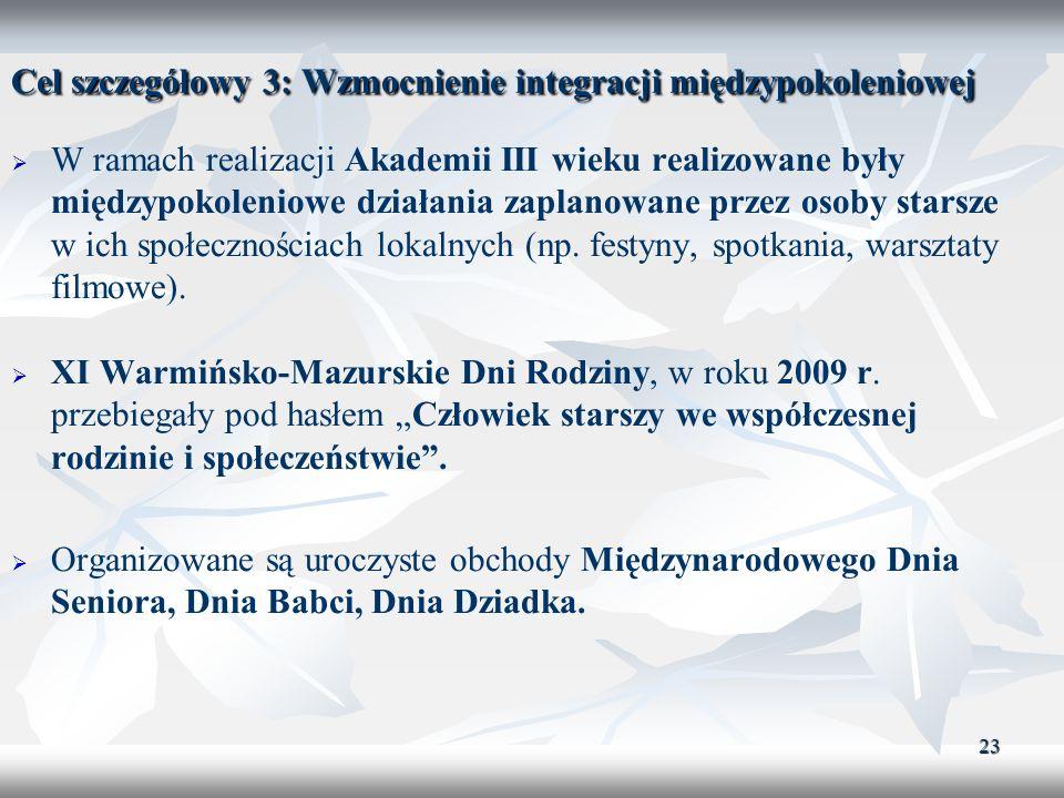 23 Cel szczegółowy 3: Wzmocnienie integracji międzypokoleniowej W ramach realizacji Akademii III wieku realizowane były międzypokoleniowe działania za