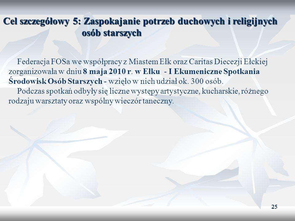 25 Cel szczegółowy 5: Zaspokajanie potrzeb duchowych i religijnych osób starszych Federacja FOSa we współpracy z Miastem Ełk oraz Caritas Diecezji Ełc