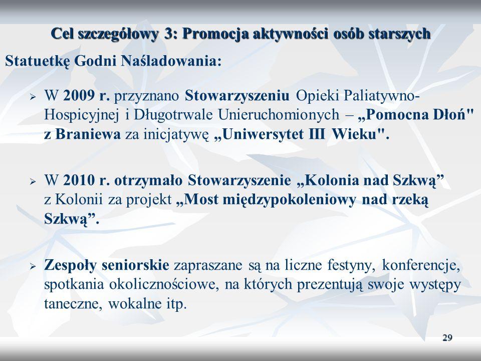 29 Cel szczegółowy 3: Promocja aktywności osób starszych Statuetkę Godni Naśladowania: W 2009 r. przyznano Stowarzyszeniu Opieki Paliatywno- Hospicyjn