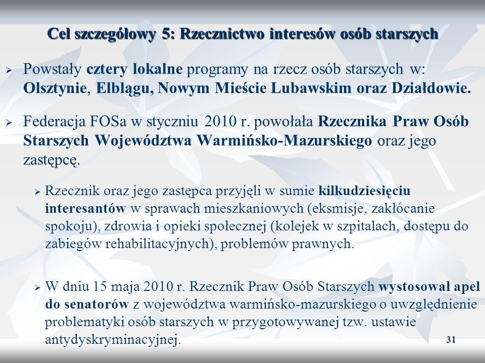 31 Cel szczegółowy 5: Rzecznictwo interesów osób starszych Powstały cztery lokalne programy na rzecz osób starszych w: Olsztynie, Elblągu, Nowym Mieśc