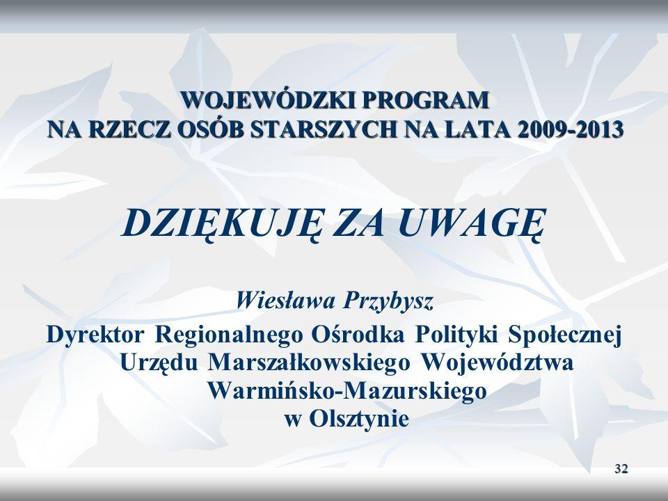 32 WOJEWÓDZKI PROGRAM NA RZECZ OSÓB STARSZYCH NA LATA 2009-2013 DZIĘKUJĘ ZA UWAGĘ Wiesława Przybysz Dyrektor Regionalnego Ośrodka Polityki Społecznej