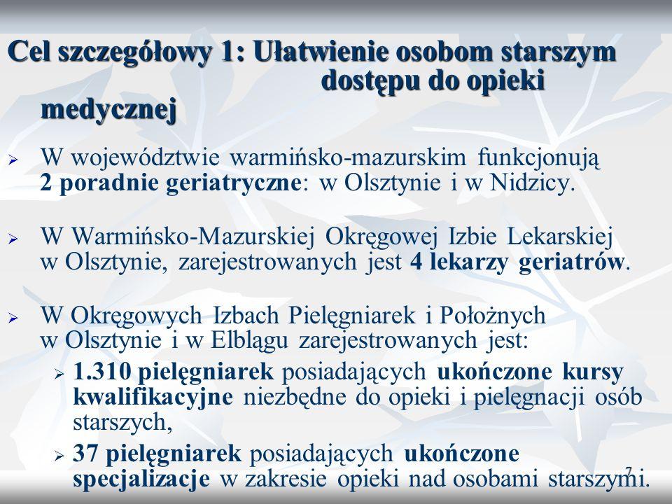 7 Cel szczegółowy 1: Ułatwienie osobom starszym dostępu do opieki medycznej W województwie warmińsko-mazurskim funkcjonują 2 poradnie geriatryczne: w