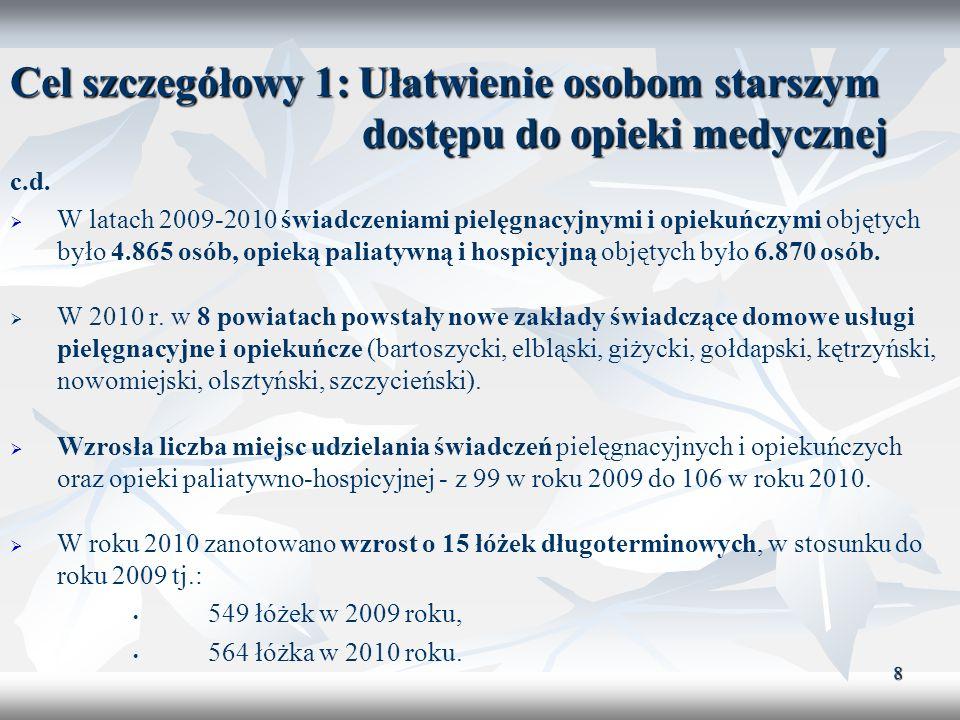 9 Cel szczegółowy 2: Poprawa jakości opieki i usług medycznych W latach 2009-2010 przeprowadzono 27 szkoleń, m.in.