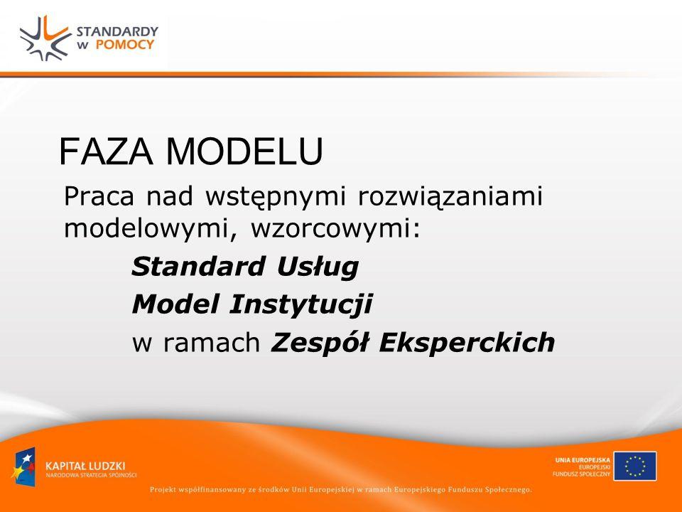 FAZA MODELU Praca nad wstępnymi rozwiązaniami modelowymi, wzorcowymi: Standard Usług Model Instytucji w ramach Zespół Eksperckich