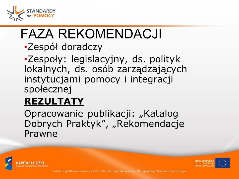 FAZA REKOMENDACJI Zespół doradczy Zespoły: legislacyjny, ds.