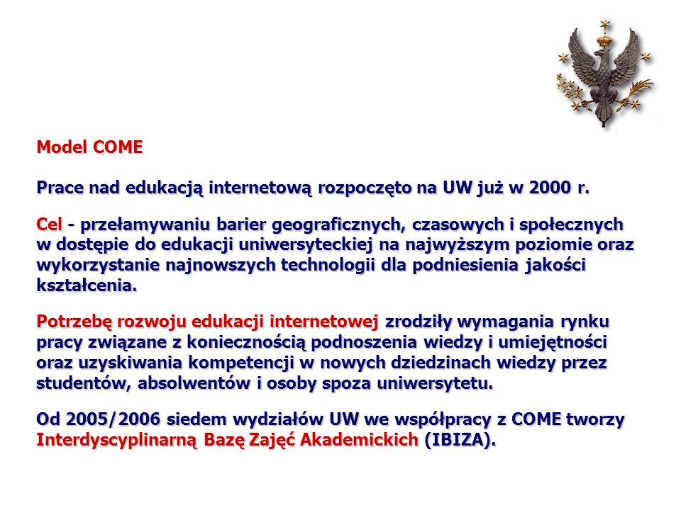 Model COME Prace nad edukacją internetową rozpoczęto na UW już w 2000 r. Cel - przełamywaniu barier geograficznych, czasowych i społecznych w dostępie