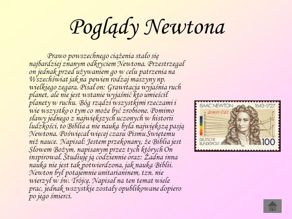 Poglądy Newtona Prawo powszechnego ciążenia stało się najbardziej znanym odkryciem Newtona. Przestrzegał on jednak przed używaniem go w celu patrzenia
