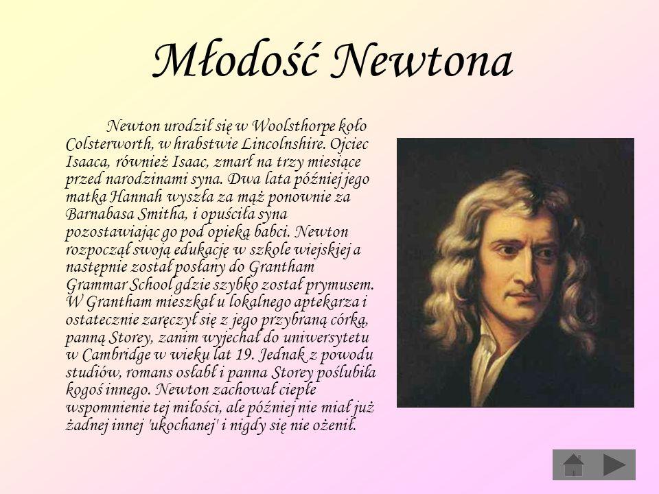 Młodość Newtona Newton urodził się w Woolsthorpe koło Colsterworth, w hrabstwie Lincolnshire. Ojciec Isaaca, również Isaac, zmarł na trzy miesiące prz