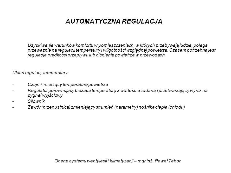 Ocena systemu wentylacji i klimatyzacji – mgr inż. Paweł Tabor AUTOMATYCZNA REGULACJA Uzyskiwanie warunków komfortu w pomieszczeniach, w których przeb