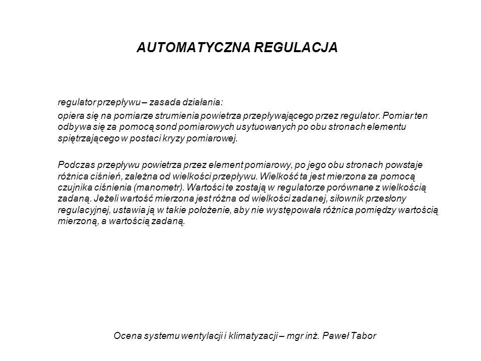 Ocena systemu wentylacji i klimatyzacji – mgr inż. Paweł Tabor AUTOMATYCZNA REGULACJA regulator przepływu – zasada działania: opiera się na pomiarze s