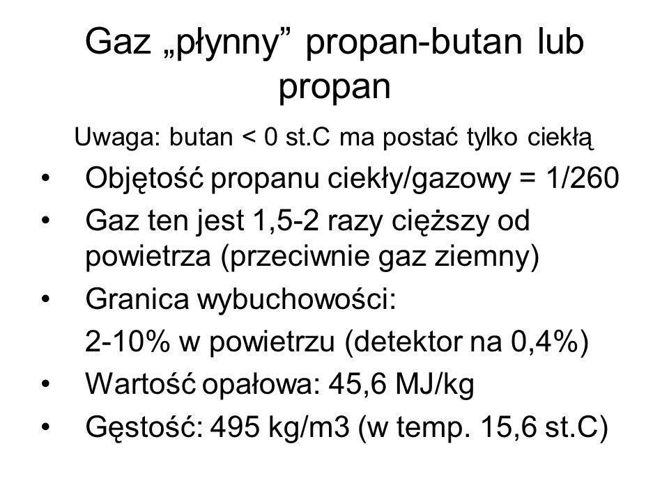 Gaz płynny propan-butan lub propan Uwaga: butan < 0 st.C ma postać tylko ciekłą Objętość propanu ciekły/gazowy = 1/260 Gaz ten jest 1,5-2 razy cięższy od powietrza (przeciwnie gaz ziemny) Granica wybuchowości: 2-10% w powietrzu (detektor na 0,4%) Wartość opałowa: 45,6 MJ/kg Gęstość: 495 kg/m3 (w temp.