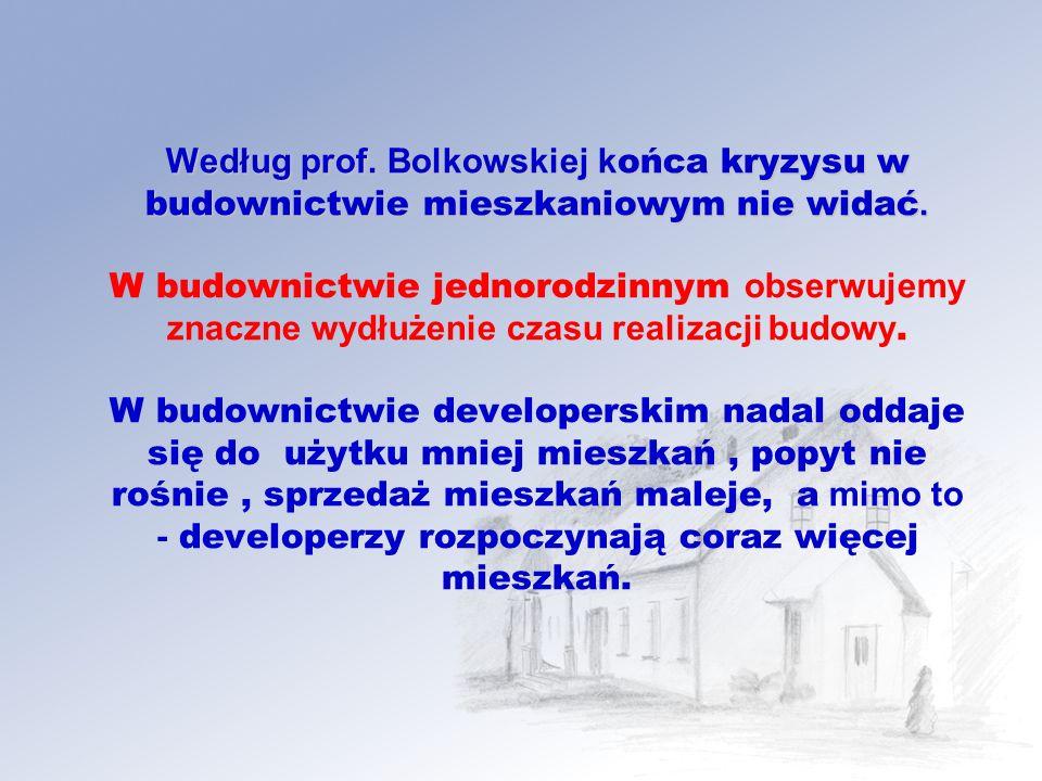 Według prof.Bolkowskiej k ońca kryzysu w budownictwie mieszkaniowym nie widać.