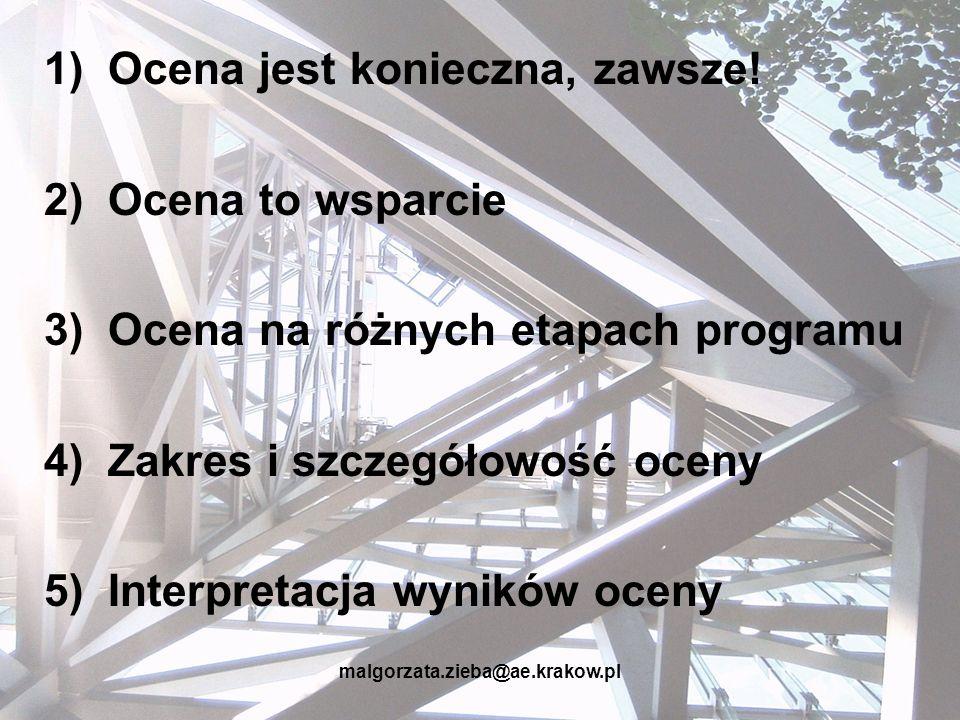 malgorzata.zieba@ae.krakow.pl 1)Ocena jest konieczna, zawsze! 2)Ocena to wsparcie 3)Ocena na różnych etapach programu 4)Zakres i szczegółowość oceny 5
