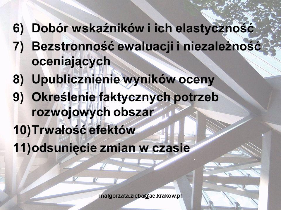 malgorzata.zieba@ae.krakow.pl 6)Dobór wskaźników i ich elastyczność 7)Bezstronność ewaluacji i niezależność oceniających 8)Upublicznienie wyników ocen
