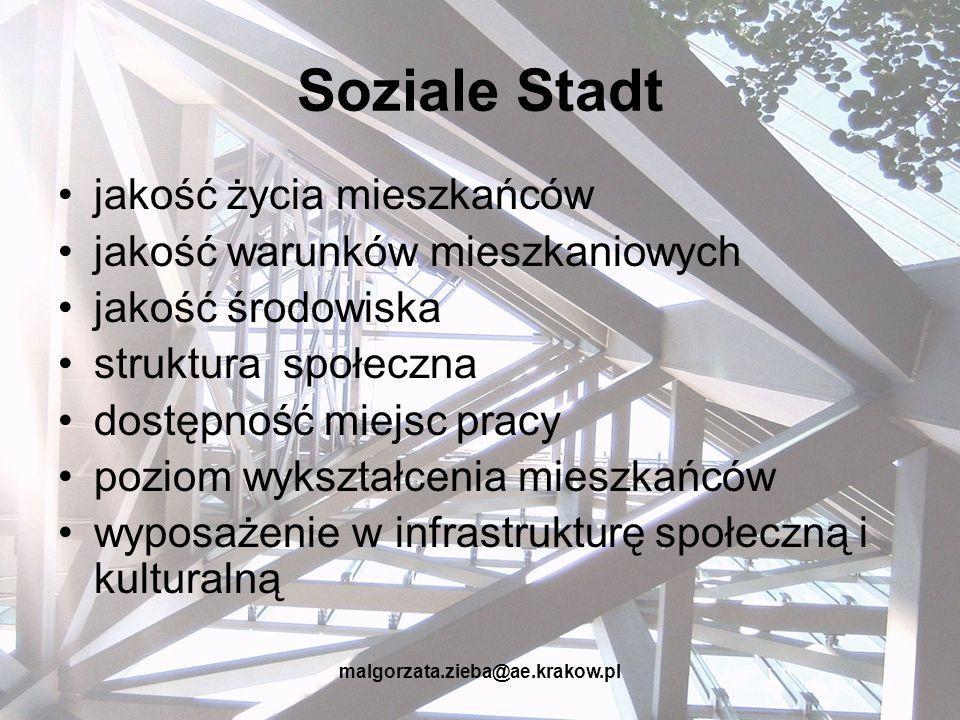 malgorzata.zieba@ae.krakow.pl Soziale Stadt jakość życia mieszkańców jakość warunków mieszkaniowych jakość środowiska struktura społeczna dostępność m